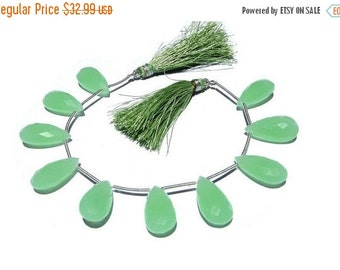 55% OFF SALE 1/2 Strand - Finest Quality Apple Green Chalcedony Faceted Pear Briolettes Size 20x10mm approx 5 Pieces 2 Matched pair