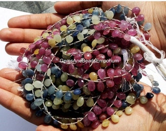 55% OFF SALE 1/2 Strand Natural Multi Sapphire Micro Faceted Pear Briolette Size 8x6mm - 10x6mm Precious Stone Beads