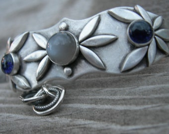 Artio's Awakening Silver Goddess Bracelet Sterling Gray Moonstone Iolite Metalwork