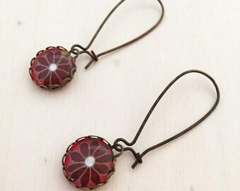 Japanese Flower Long Antique Brass Glass Earrings