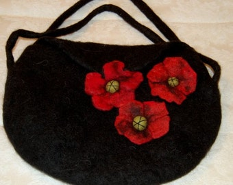 Alpaca, Black Felted Purse with Gorgeous Flowers!