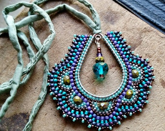 Peacock Necklace, Beaded Teardrop Pendant on Rolled Silk Cord