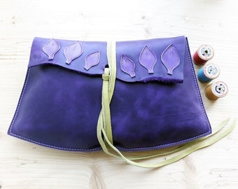 Large Leather Fairytale clutch Purse, Bag JEZABEL violet, purple leaf 3018
