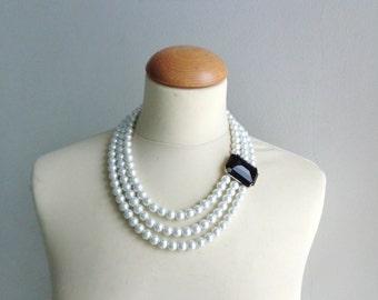 Statement white pearl black necklace multistrand