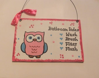 Owl Bathroom Rules Wall Hanging Pink and Blue