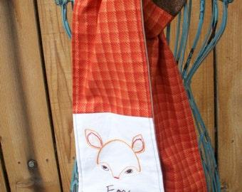 Orange Fox Hand Embroidered Fashion Scarf