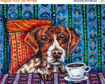 ON SALE pointer dog - Art Print, poster,  pop art, dog print, coffee print, coffee, modern folk art,