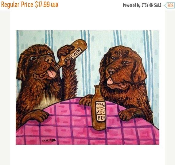 ON SALE Newfoundland beer Bar Dog Art PRINT 11x14 Jschmetz abstract folk art pop art Modern