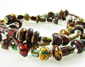 Chunky Czech Beads Bracelet Set, Czech Glass Beaded Bracelet, Glass Beads, Multi Strand Bracelet Set, Boho Bracelet