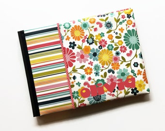 Colorful Flower Baby Memory Book - Pink Blue Yellow Green Landscape Orientation
