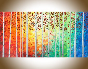 "rainbow color art 48"" Large birch tree painting canvas art autumn art oil painting wall art wall decor Impasto ""Autumn Woods"" by QIQIGallery"