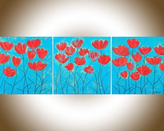 """Turquoise Red flowers painting set of 3 wall art canvas art Heavy Texture Palette Knife original artwork """"Summer Waves"""" by QIQIGALLERY"""