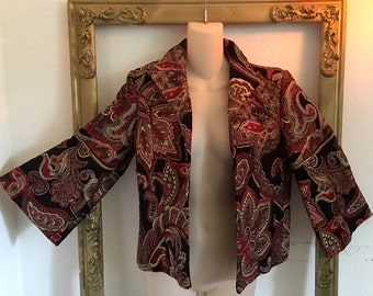 Vintage 90s Wine Gold Black Brocade Tapestry Bell Sleeve Jacket Coat SZ 6