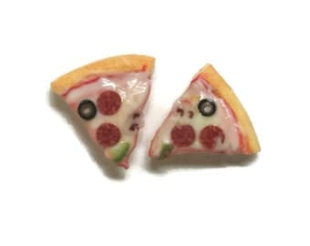 Surpreme Pizza Stud Earrings, Miniature Food Polymer Clay Jewelry