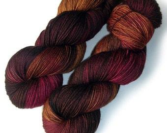 Sock Yarn Handdyed Merino Cashmere Nylon Yarn - Warm Wood, 430 yards