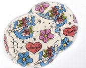"""Large Reusable Nursing Pad Set in Bamboo/Organic Cotton with hidden PUL - cotton flannel top - """"Tattoos"""""""