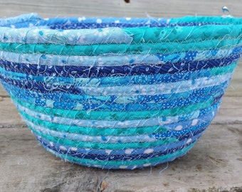 Handmade Robin's Egg Fabric Coiled Basket