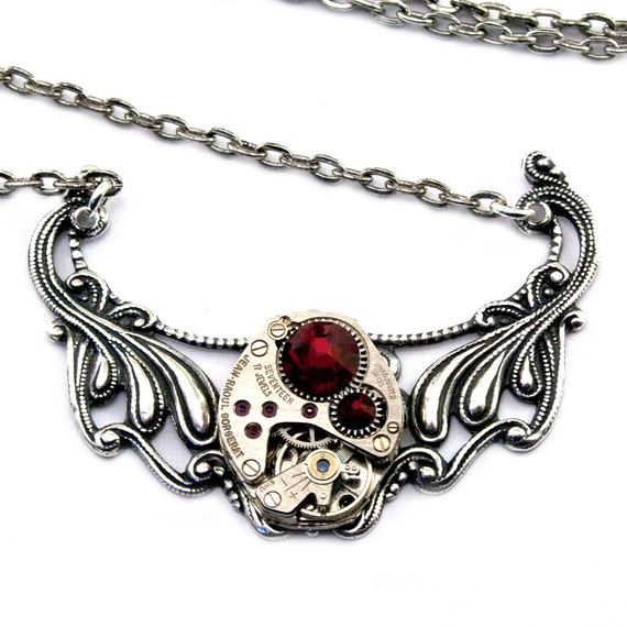 Steampunk Necklace - Gorgeous Vintage Clockwork Design accented with Siam RED Swarovski Crystals - PROMPTLY SHIPPED - SteampunkJewelry