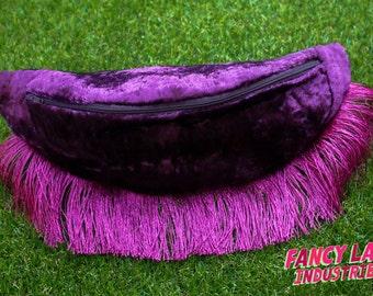 "Burgundy Vintage Velvet Bumbag - waist fits 177cm/ 70"""