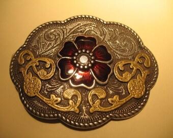 Cloisonne Red Flower Metal Belt Buckle