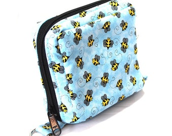 Essential Oil Roller Bottle Case Bumble Bees on Blue