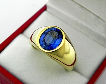 AAAA Kyanite Top Quality   10x8mm  3.31 Carats   Heavy 14K Yellow gold MAN'S ring 18 grams. 2551