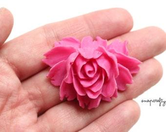 2pc fuchsia rose bloom flower cabochons / flat back resin flower embellishment / detailed resin rose cab / diy jewelry pendants bridal