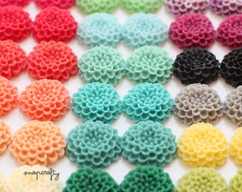 36pc SAMPLER pompom resin flowers / 18 pairs 20mm matte flower cabochons / 18 assorted colors flat back embellishments for diy jewelry