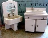 Vintage Wood Dollhouse Sinks, Bathroom sink and kitchen sink