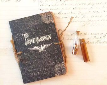 Halloween Potion Spell Book, Small Spell and Potion Journal, Skull with Wings, Witchcraft Book, Halloween Notebook, Spells Book, Party Favor