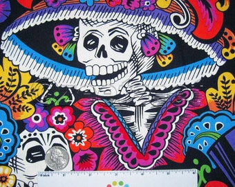 1.63 Yards Last Piece Alexander Henry Dia De La CATRINA Black Quilt Fabric by the Day of the Dead Skull