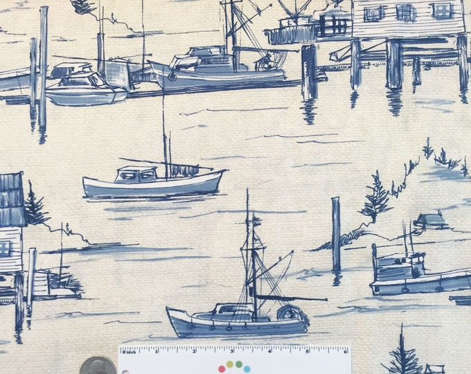 The COVE Harbor Parchment Blue Nautical Boat Boating Coastal Beach Ocean Water Cotton Quilt Fabric - by the Yard, half Yard, or Fat Quarter