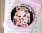 Through Her Eyes Pocket Mirror  - 3 inches Round - Alice in Wonderland Pocket Mirror w/ Organza Bag, Victorian Gothic Girl