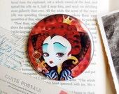 Queen of Hearts Pocket Mirror - 3 inches round - Alice in Wonderland