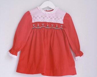 Vintage girls dress red polly flinders smocked dress 12 to 18 months