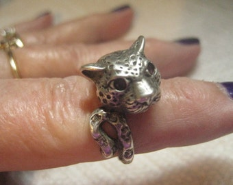 Kabana Sterling Leopard Ring with Red Gemstone Eyes Size 7 One Half