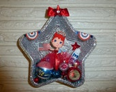 Whimsical Retro Inspired Patriotic 4th of July Large Tart Tin Wall Hanging Miss America