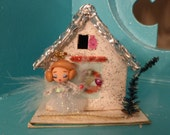 Sweet OOAK Vintage Christmas Putz House w Wire & Polymer Clay Angel Ornament