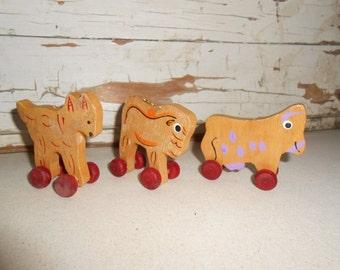 Vintage Wood Animal Ornaments, Vintage Wood Pull Animals Toy, Wood Toy Animal