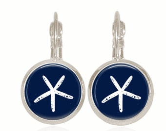 Glass Dome Earrings, Drop Style Earrings, Glass Earrings, Starfish Earrings, Preppy Earrings (NAVY STARFISH)