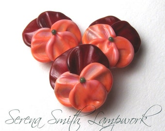 Pansy Flower Beads, Handmade Lampwork floral jewelry supplies in salmon and red glass