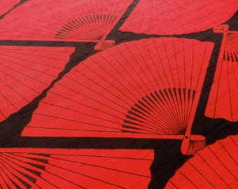 Japanese Fan Fabric, Folding Fans in Red and Black Textured Cotton Fabric Yardage - Sold by the Half Meter