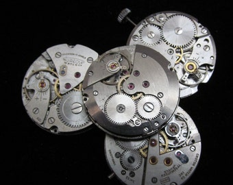 Vintage Antique Round Watch Movements Steampunk Altered Art Assemblage A 58