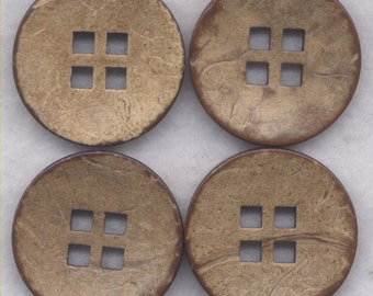 Coconut Wood Buttons Decorated Wooden Buttons 30mm (1 3/8 inch) Set of 4 /BT393