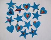 15 Hearts Stars Iron On Appliques Large Set