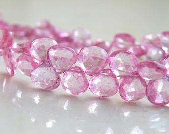 Pink Topaz Gemstone Briolette Mystic Faceted Heart 7mm 13 beads
