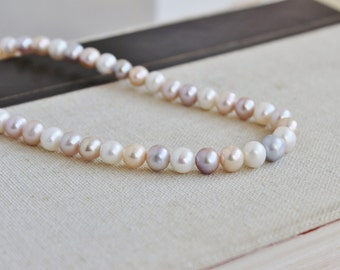 Freshwater Pearl White Peach Mauve oval Round 7 to 8mm 55 beads Full strand