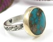 Bague Turquoise naturelle - bague en Turquoise Bisbee - argent Sterling avec or 14 K - naturel anneau métallique mixte turquoise - taille 6 3/4 - taille 6.75