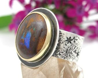 Australian Boulder Opal Ring - Sterling Silver 18K Gold Boulder Opal Ring - size 7 1/2 - Koroit Opal ring - wide band opal ring - size 7.5