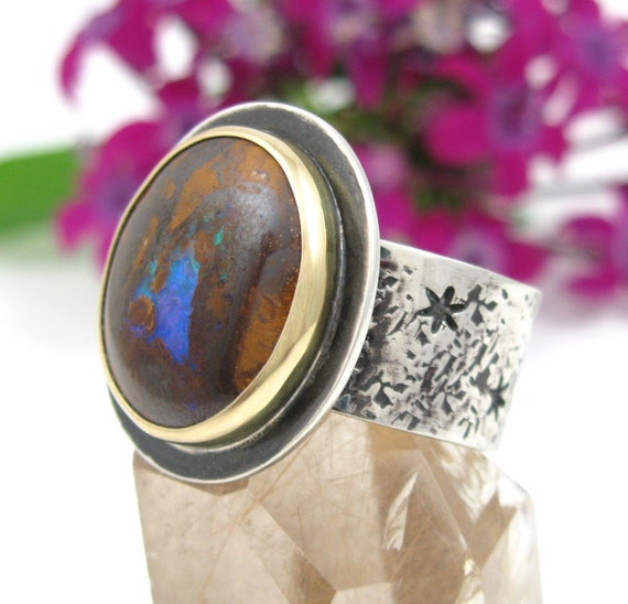 Australian Boulder Opal Ring - Sterling Silver 18K Gold Boulder Opal Ring - size 7 1/2 - Koroit Opal ring - wide band opal ring - size 7.5